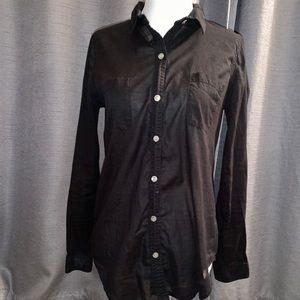 Black Sheer Button Down Shirt
